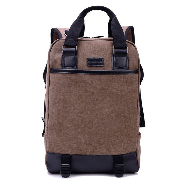 Backpack - Multifunction Double Strap Canvas Travel Shoulder Bag Backpack