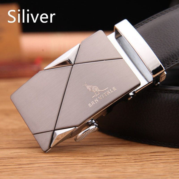 Belt - Automatic Metal Buckle Genuine Leather Strap Belt