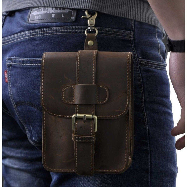 Belt Bag - Retro Oil Wax & Crazy Horse Genuine Leather Mens Waist Bag
