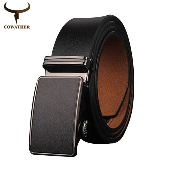 Belt - Genuine Cow Hide Leather Belt Automatic Buckle