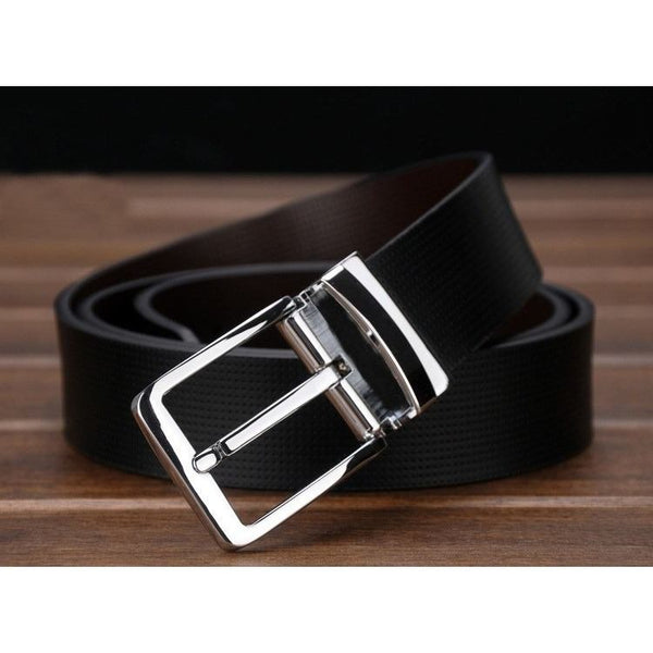 Belt - Pin Buckle Genuine Leather Luxury Mens Belt