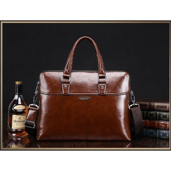 Briefcase - Leather Briefcase Laptop Tote Crossbody Messenger Bag
