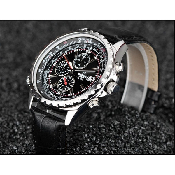 Casual Watch - CASIMA Luxury Luminous Quartz Leather Watch With Subdials