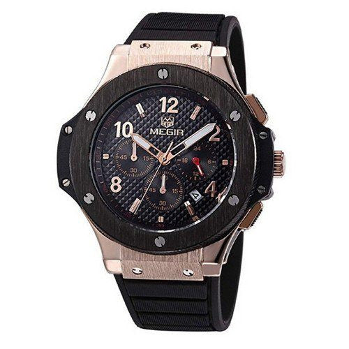 Casual Watch - MEGIR Black Silicone Luxury Wrist Watch With Subdials