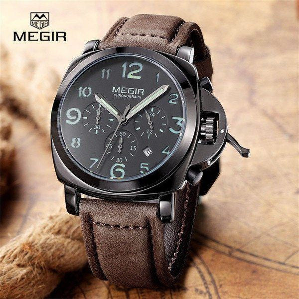 Casual Watch - MEGIR Chronograph Luxury Leather Band Watch With Subdials