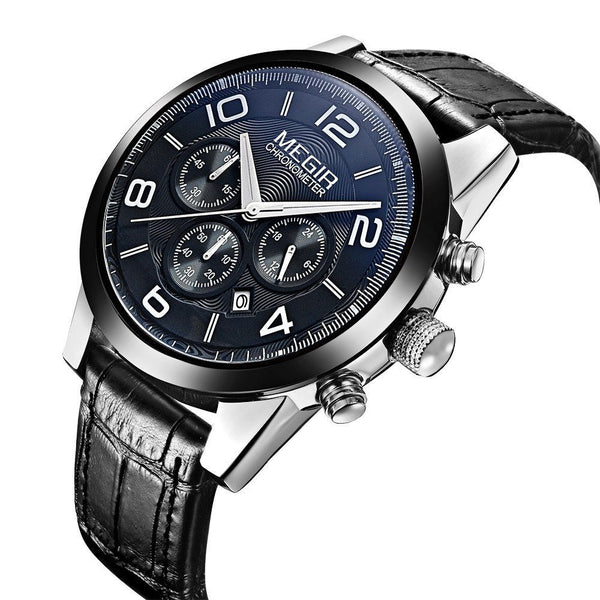 Casual Watch - MEGIR Chronograph Three Subdial Leather Band Watch