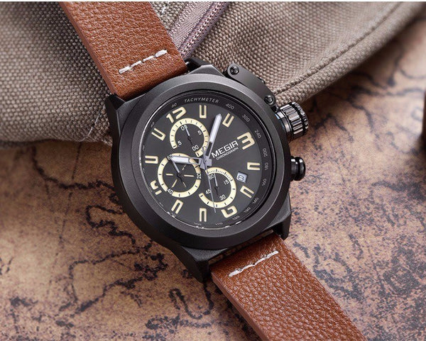 Casual Watch - MEGIR Leather Band Military Style Casual Watch