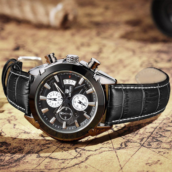 Casual Watch - MEGIR Luxury Military Quartz Chronograph Wrist Watch With Subdials