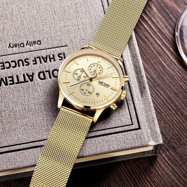 Casual Watch - MEGIR Stainless Steel Mesh Band Analog Wrist Watch