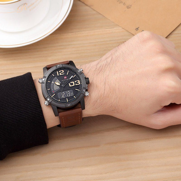 Casual Watch - NAVIFORCE Luxury Leather Band Digital And Analog Wrist Watch