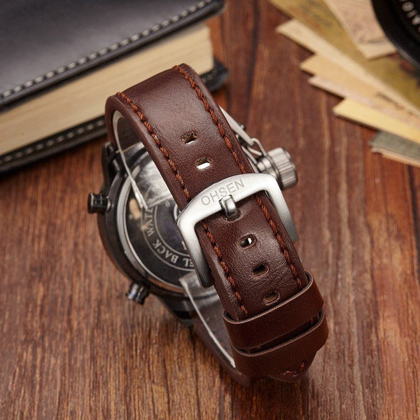 Casual Watch - OHSEN Leather Digital Sports Watch