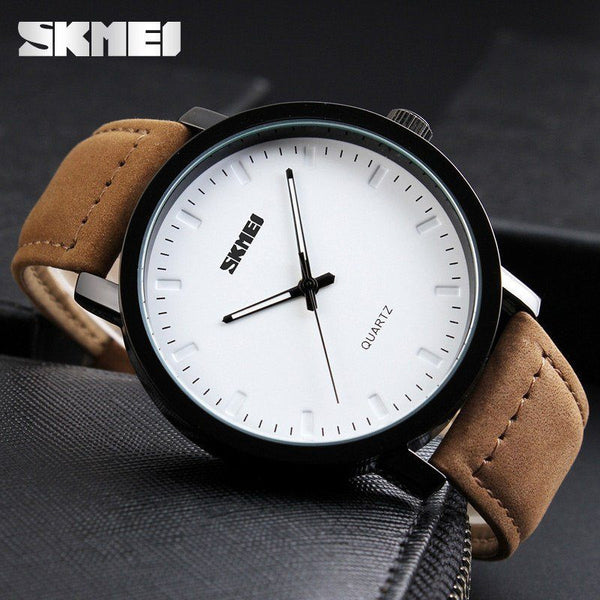 Casual Watch - SKMEI Leather Band Casual Quartz Wrist Watch