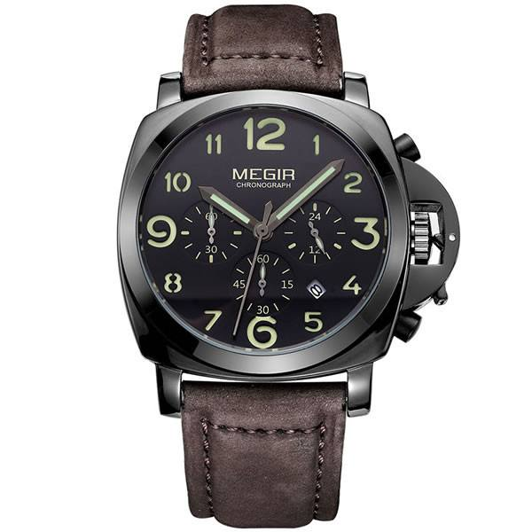 MEGIR Chronograph Luxury Leather Band Watch with Subdials