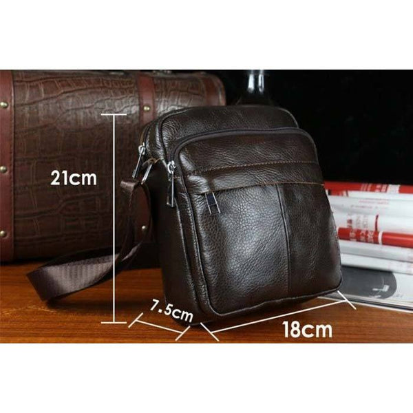 Messenger Bag - Genuine Leather Small Shoulder Messenger Crossbody Leisure Bag