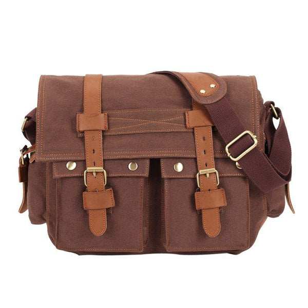 Messenger Bag - Vintage Canvas Military Style Canvas Crossbody Messenger Bag