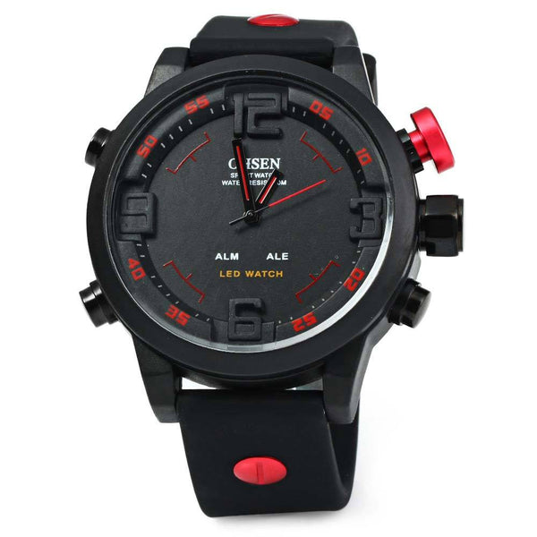 OHSEN Silicone Band Big Dial Dual Display 5ATM Sports Watch