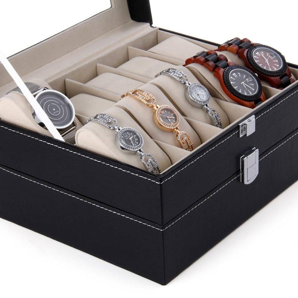 PU Leather Watch Display Box - 20 Compartments