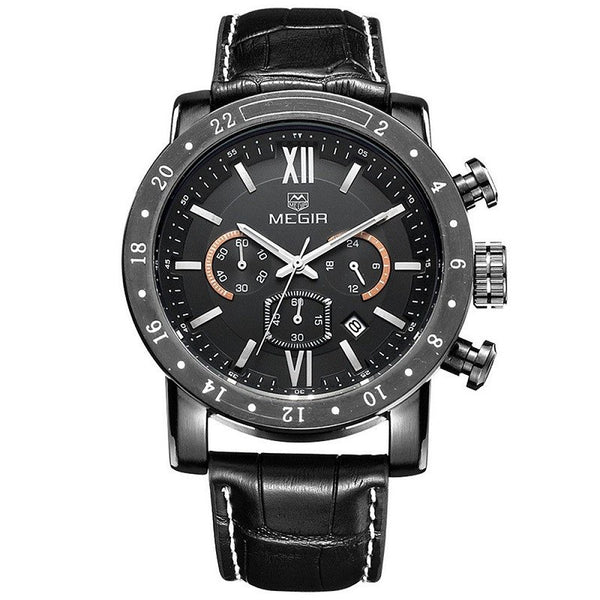 MEGIR Executive Series Leather or Steel Watch