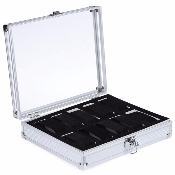 Aluminum Watch Display Box - 10 Compartments