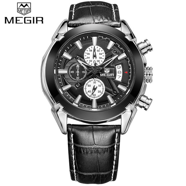 MEGIR Luxury Military Quartz Chronograph Wrist Watch with Subdials