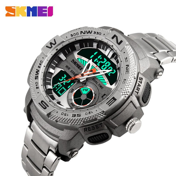 SKMEI Stainless Steel Analog and Digital Sports Watch