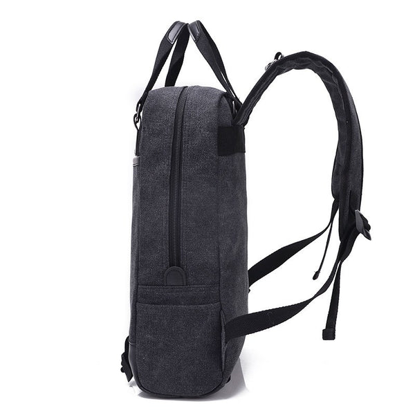 Multifunction Double Strap Canvas Travel Shoulder Bag Backpack