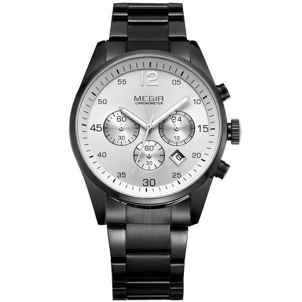 MEGIR Luxury Chronograph 6 Hands Stainless Steel Business Watch