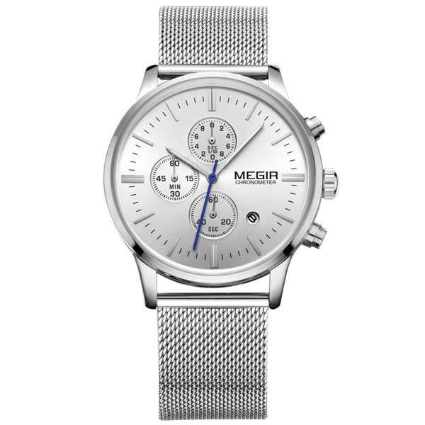 MEGIR Stainless Steel Mesh Band Analog Wrist Watch