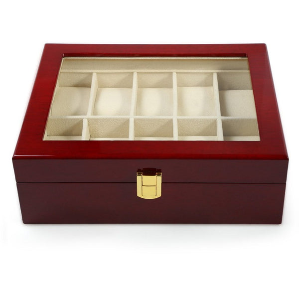 Wooden Watch Display Box - 10 Compartments
