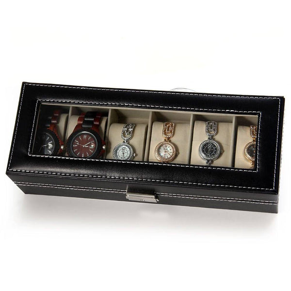 PU Leather Watch Display Box - 6 Compartments
