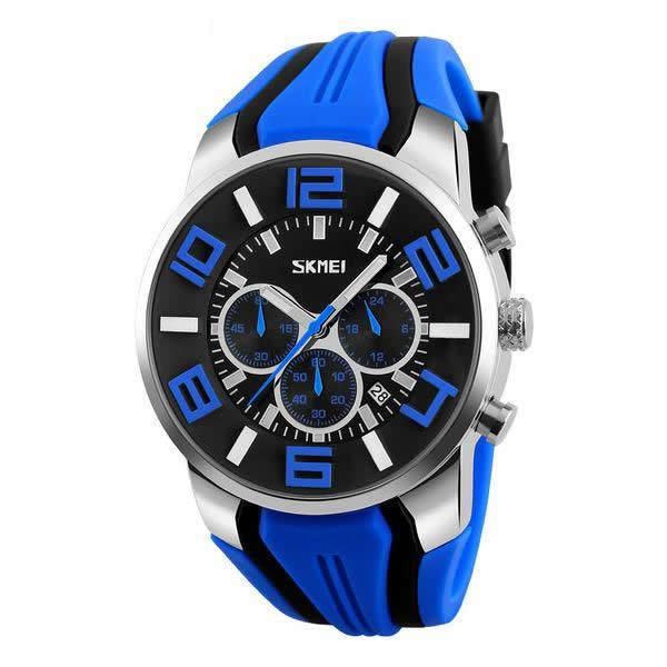 SKMEI Silicone Band Chronograph Sports Watch with Subdials