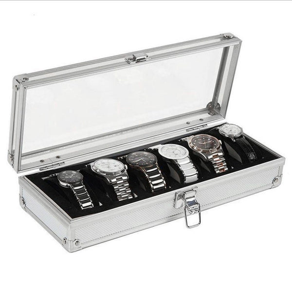 Aluminum Watch Display Box - 6 Compartments