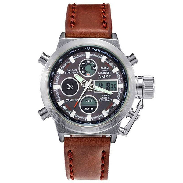 AMST Luxury Multifunction Leather Military Sport Watch