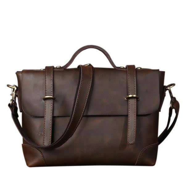 Genuine Leather Messenger Shoulder Bag Business Laptop Bag Briefcase