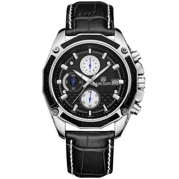 MEGIR Men's Luxury Leather Quartz Casual Watch