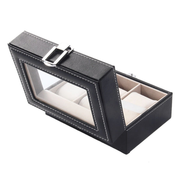 PU Leather Watch Display Box - 3 Compartments