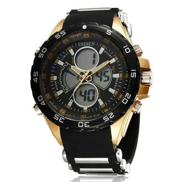 OHSEN  3ATM Dual Display Digital Analog Sport Watch