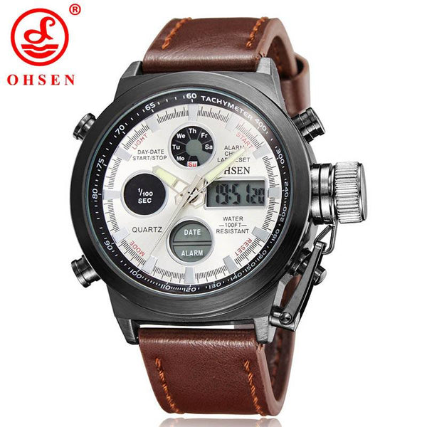 OHSEN Leather Digital Sports Watch