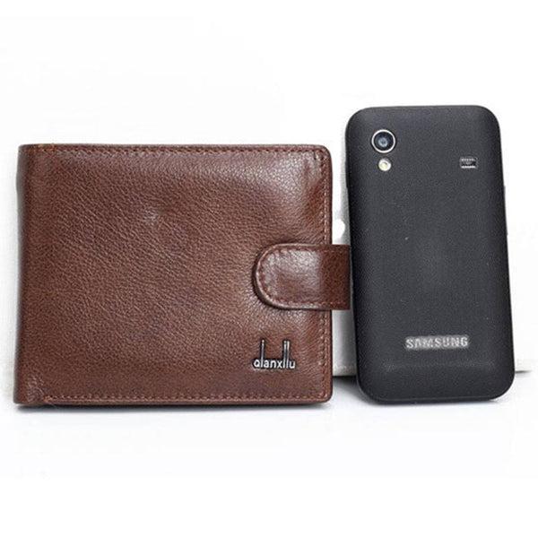 Genuine Leather Trifold Wallet with Zipper Coin Pocket
