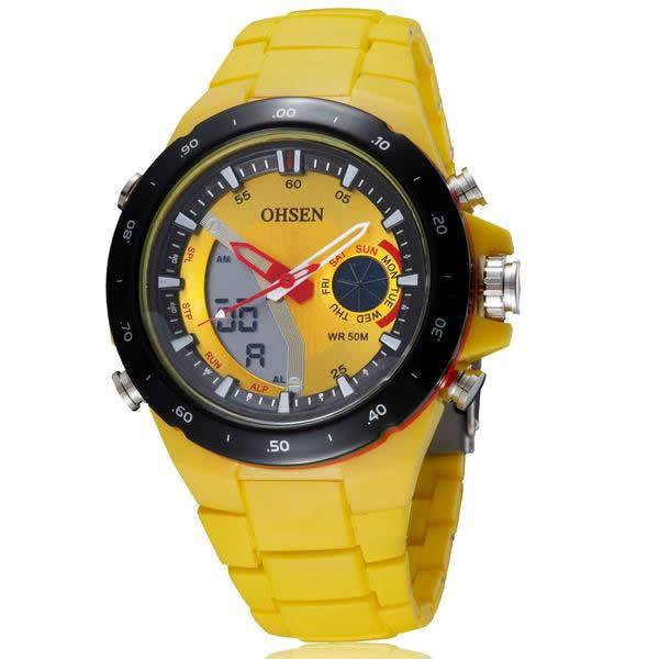 OHSEN Dual Display Silicone Band Sports Watch