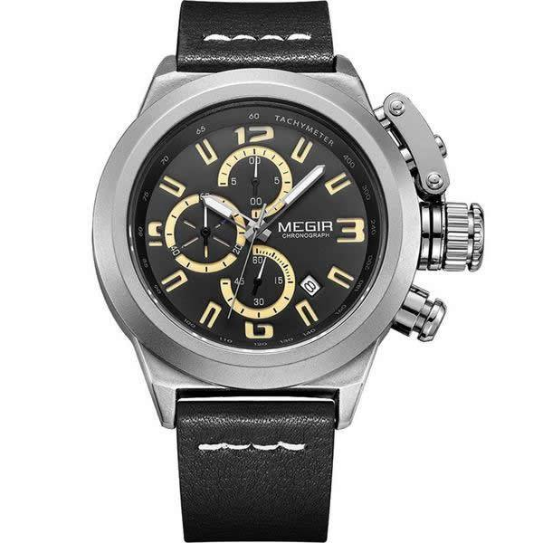 MEGIR Leather Band Military Style Casual Watch