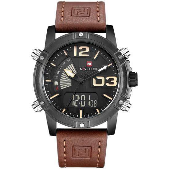 NAVIFORCE Luxury Leather Band Digital and Analog Wrist Watch