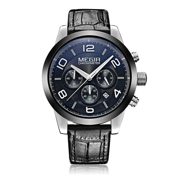MEGIR Chronograph Three Subdial Leather Band Watch