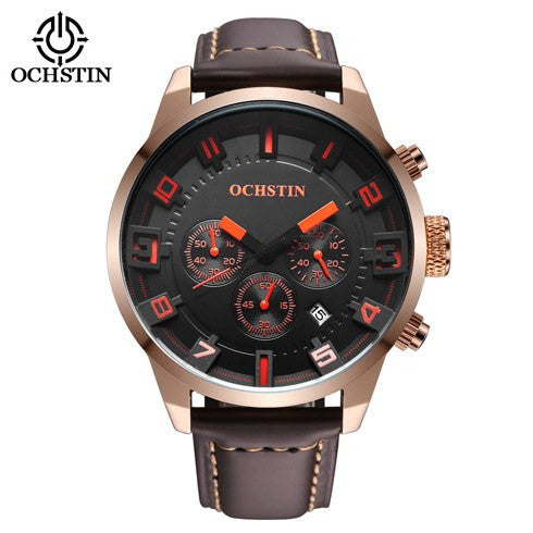 Ochstin Elite Chrono Leather Sports Watch with Subdials