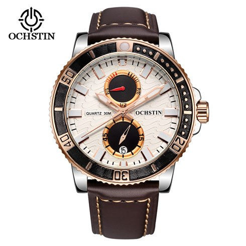 Ochstin Luxury Chronograph Genuine Leather Military Watch