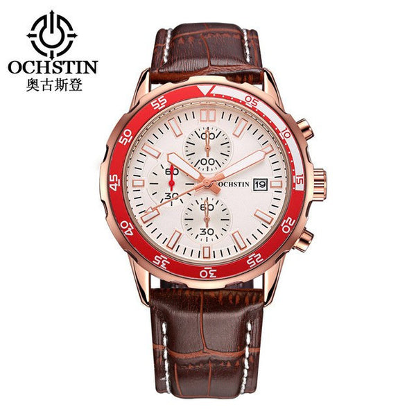 Ochstin Luxury Military Style Chronograph Quartz Watch Multiple Subdials