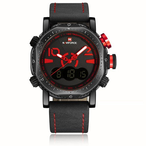 NAVIFORCE Luxury Leather Dual Time Quartz Sport Military Watch