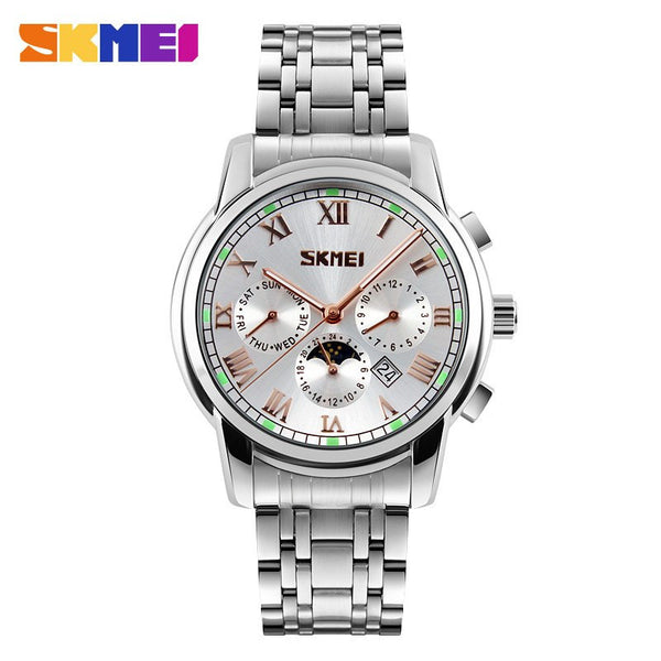 SKMEI Stainless Steel Quartz Business Watch with Subdials