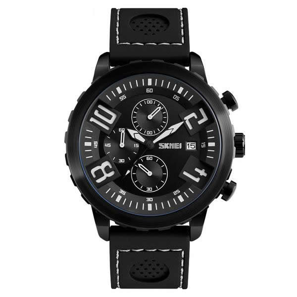SKMEI Ridgemaster Luxury Silicone Strap Watch with Functional Subdials