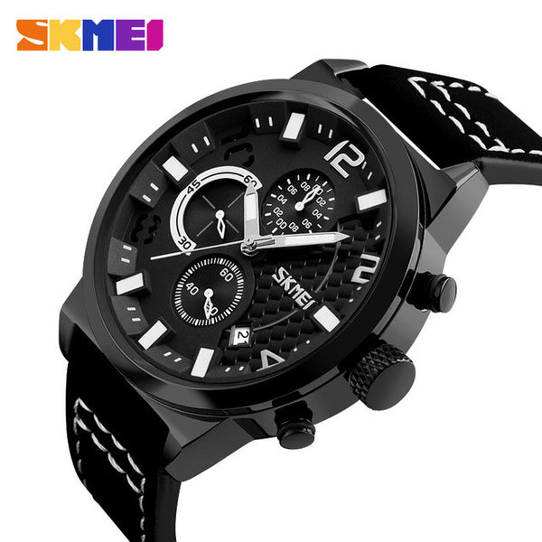 SKMEI Bold and Black 30M Water Resistant Luxury Watch with Functional Subdials